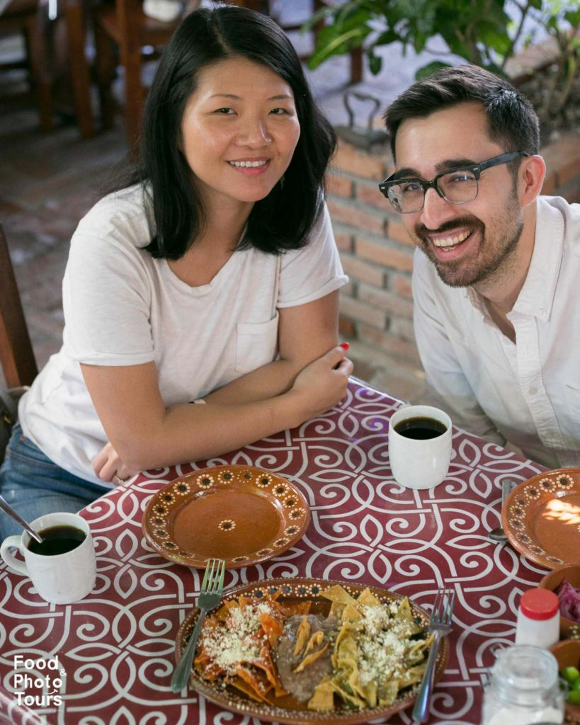 A Millenials American couple taking a Food Tour in Puerto Vallarta at a working class neighborhood called Pitillal.